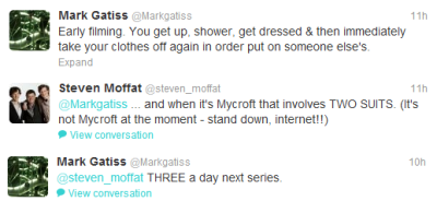 A Twitter conversation that appear on my feed this morning. Damn you Moffat!