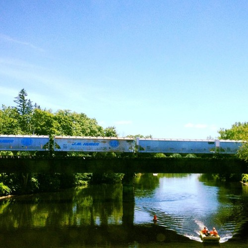 There's a #boat! And a #train on a #bridge over water in upstate #newyork. I'm in the #boonies y'all! Haha (Taken with Instagram)
