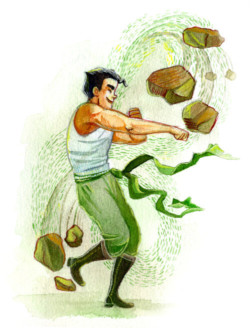 thevintagepostbox:  Bolin! Aside from Tenzin (and Aang, who no one is counting), he is essentially my favorite. There is a matching piece for Korra over here. I imagine I will paint Mako next.