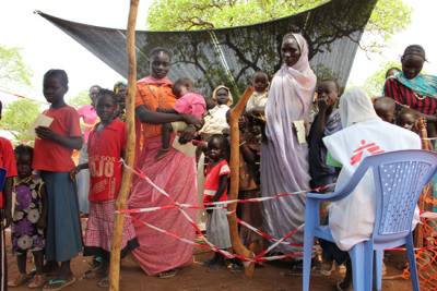 "doctorswithoutborders:  Refugees in South Sudan: ""We Walked for Six Days … With Nothing But Our Clothes"" ""We were on the road for two months. Many villages we went through kept being bombed, so we had to keep fleeing. We had food for two weeks, then we ran out. We ate the lalop fruit and leaves from trees. We gave food for the children mostly, and some days we had nothing to eat. Some people got very sick and we had to leave some by the road—we could not carry them and they were too weak to continue."" —28-year-old mother of six childrenPhoto: Refugees fleeing conflict and food insecurity in the Nuba Mountains face insufficient levels of assistance in Yida camp. South Sudan 2012 © Sally McMillan"