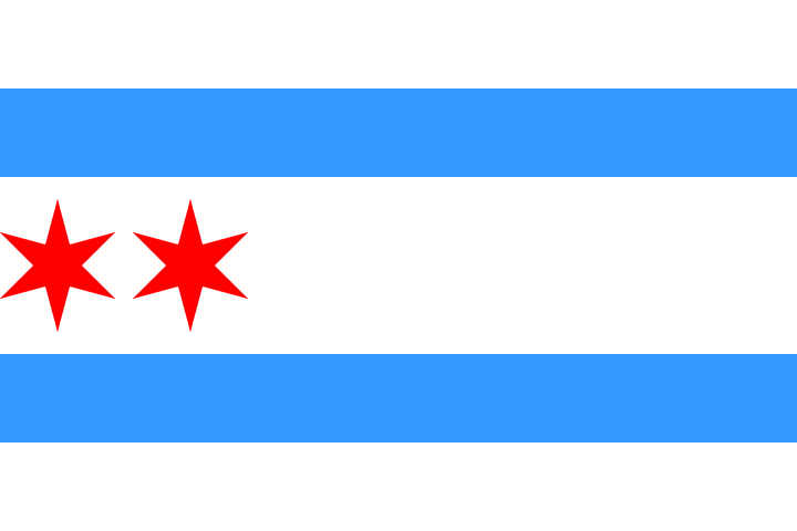 calumet412:  The original Municipal Flag of Chicago as it appeared when adopted in 1917. It only had two stars. The third and fourth were added in 1933 and 1939, respectively. Each stripe, each star and the 6 points of each star has a meaning. Learn more here: http://en.wikipedia.org/wiki/Flag_of_Chicago