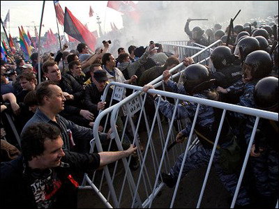 Russian protestors clash with riot police in Moscow  News this week that Russian authorities had arrested more protestors and that teams of investigators raided the homes of blogger Aleksei Navalny, television star Kseniya Sobchak, and other prominent opposition voices is further proof of an intensifying struggle over freedom of expression in Russia.  Navigating this treacherous terrain is the Russian PEN Center, chartered in 1988 and an important defender of the freedom to write in the post-Soviet era. Among Russian PEN's most important campaigns were efforts to challenge the jailing of Grigory Pasko and Aleksander Nikitin. The center paid a stiff a price for its activism when then-President Putin sought to impose exorbitant land taxeson the organization's central Moscow offices. For more than five years, the center was tied down in court with its assets frozen by the state. Click here to read more