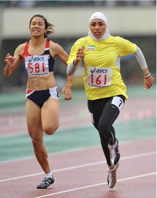 farsizaban:  Maryam Tousi is an Iranian Sprinter. She won a Gold Medal in 2012 Asian Indoor Games.