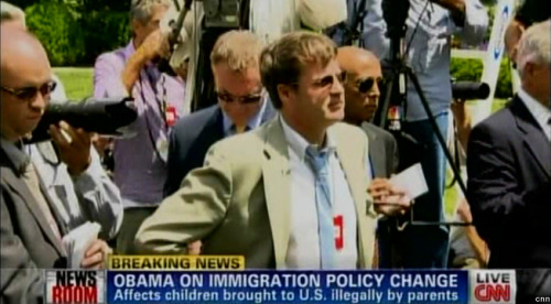 This is the reporter heckler who yelled at President Obama during his Rose Garden address on immigration and the Dream Act. His name is Neil Munro, and he works at The Daily Caller. That was not journalism, kids. Here's video. [h/t TPM]
