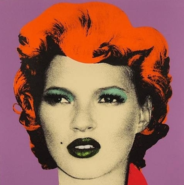 Banksy's Kate Moss Based on Andy Warhol's iconic Marilyn series, notorious Street artist Banksy created this portrait of supermodel Kate Moss.  Bid on exclusive Street Art this weekend, exclusively on artnet Auctions.