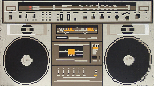 heyoscarwilde:  I've got my spine, I've got my orange crush. 8-bit Boombox by Hollis Brown Thornton :: via hollisbrownthornton