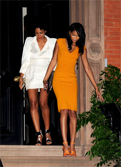 Chanel Iman & Solange Knowles leaving Barack Obama fundraising dinner held at Sarah Jessica Parker's apartment in New York.