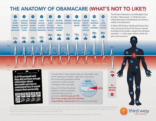 "The Anatomy of Obamacare (What's Not to Like?) The Affordable Care Act (aka ""Obamacare"" or ACA) has been widely discussed and debated, but remains widely misunderstood. Many core provisions of the law are viewed favorably by the public, except the individual mandate — the most critical piece, without which the plan cannot survive. This recent infographic examines the anatomy of this phenomena and asks why 66% of the public views the individual mandate unfavorably when it will affect less than 6%."