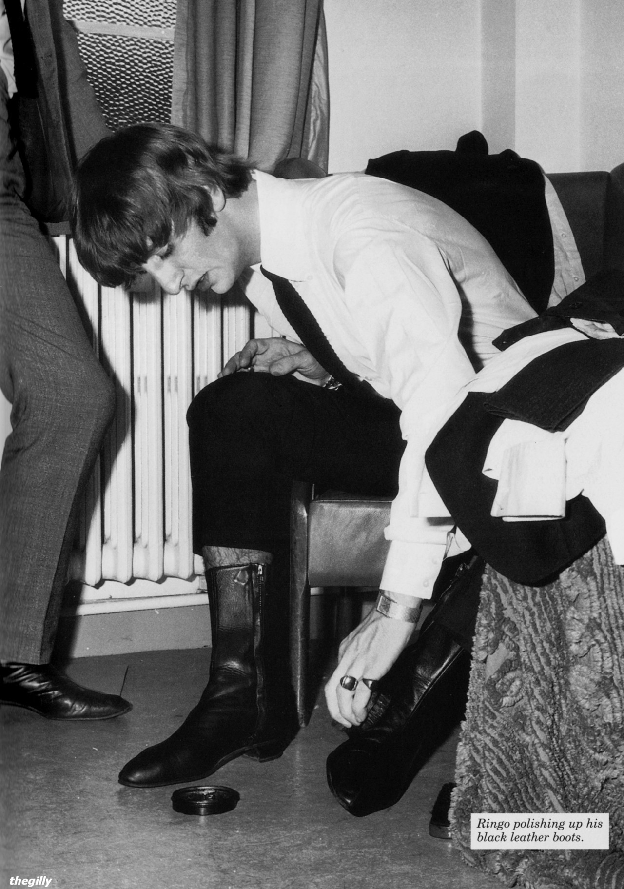 thegilly:  Turns out he does wear shoe shine. Ringo backstage at a taping of Thank Your Lucky Stars. Scanned from The Beatles Book Monthly No. 289.