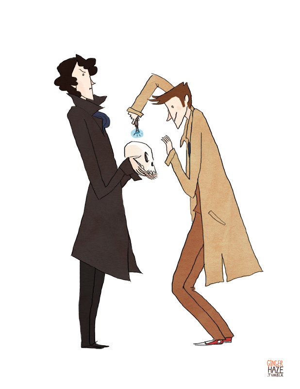 gingerhaze:  Commission for frecklesandfarce, who requested the Tenth Doctor and Cumberbatch Sherlock doing SCIENCEY things together.  What are they doing to Bob? D: