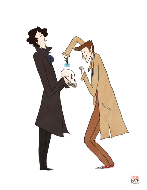 gingerhaze:  Commission for frecklesandfarce, who requested the Tenth Doctor and Cumberbatch Sherlock doing SCIENCEY things together.
