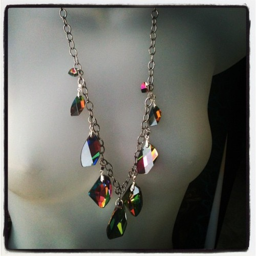 fashion—-whore:  Rainbow crystals necklace made by moi! (Taken with Instagram)  this is adorable!
