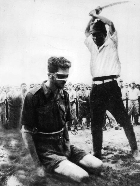 Australian Sergeant Leonard G. Siffleet about to be beheaded with a sword by Yasuno Chikao. Sgt. Siffleet was captured behind Japanese lines while on reconnaissance. The photo was recovered from a dead Japanese soldier. New Guinea 1943Leonard George (Len) Siffleet (14 January 1916 – 24 October 1943) was an Australian commando of World War II. Born in Gunnedah, New South Wales, he joined the Second Australian Imperial Force in 1941, and by 1943 had reached the rank of sergeant. Posted to M Special Unit of the Services Reconnaissance Department, Siffleet was on a mission in Papua New Guinea when he and two Ambonese companions were captured by partisan tribesmen and handed over to the Japanese. All three men were interrogated, tortured and later beheaded. A photograph of Siffleet's impending execution became an enduring image of the war, and his identity was often confused with that of other servicemen who suffered a similar fate, in particular Flight Lieutenant Bill Newton VC.