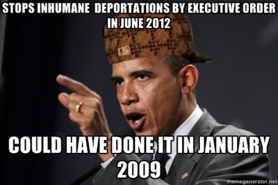 You're still the president who massively increased deportations compared to George W. Bush. No credit from me on today's change, and if Hispanics cost you the election, you deserve it.