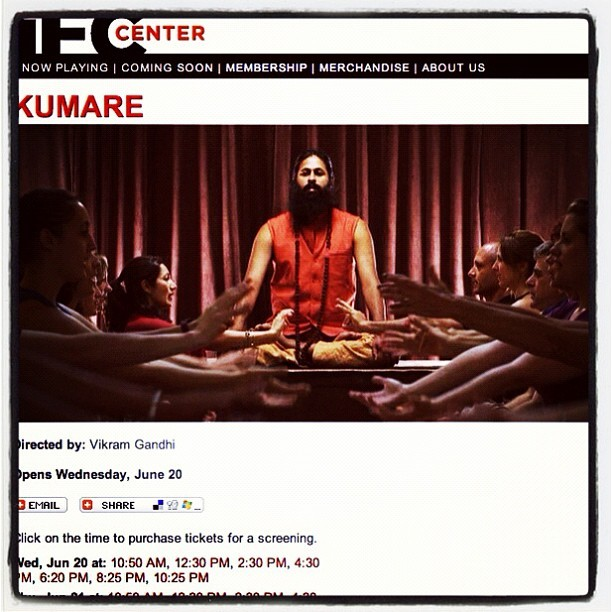 The SXSW award-winning documentary #Kumare is getting its premiere in New York City next week. Get tickets here: http://bit.ly/LgYzIx (Taken with Instagram)