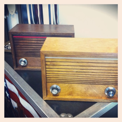 New Handmade Ward Electric iPod/FM Radios in Oak and Walnut.  $299