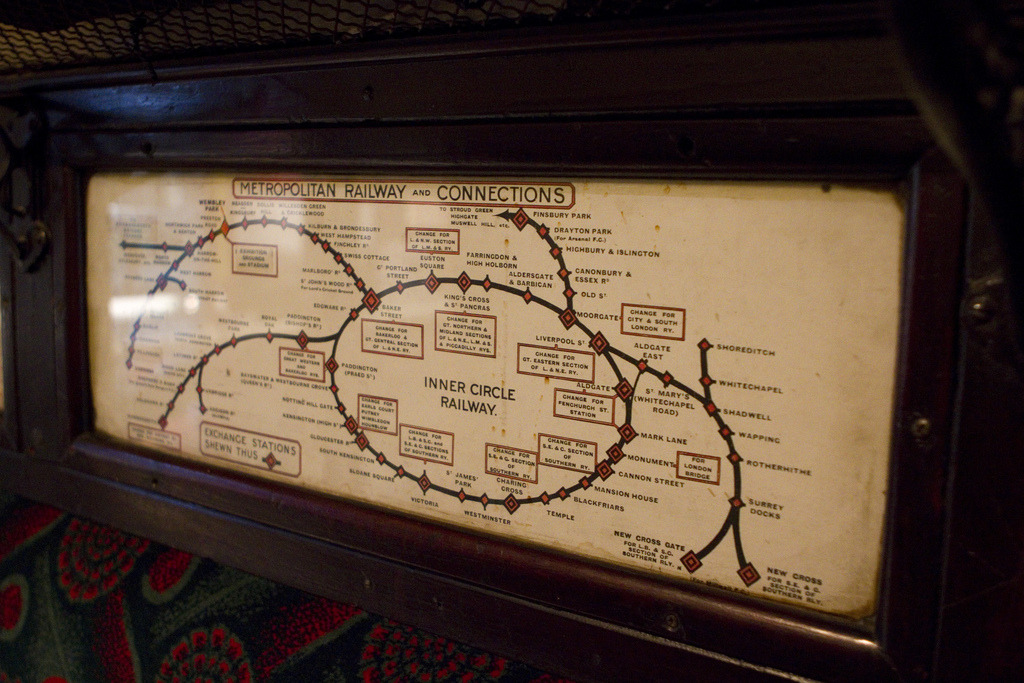 "Historical Map: London Metropolitan Railway and Connections A fantastic old in-car map from London's old Metropolitan Railway: the world's first underground railway and the precursor to the modern London Underground. Today, former Metropolitan Railway tracks and stations are used by the London Underground's Metropolitan, Circle, District, Hammersmith & City, Piccadilly and Jubilee lines. I'm guessing this map is from around 1930 or so, as the Railway's lines are substantially complete apart from the Stanmore extension out of Wembley Park, which opened in 1932. Of course, by 1933, all of London's railways were amalgamated under the auspices of the London Passenger Transport Board and the modern Underground as we know it today was born. Side note: We really should use the word ""shewn"" more often. (Source: mikeric/Flickr)"
