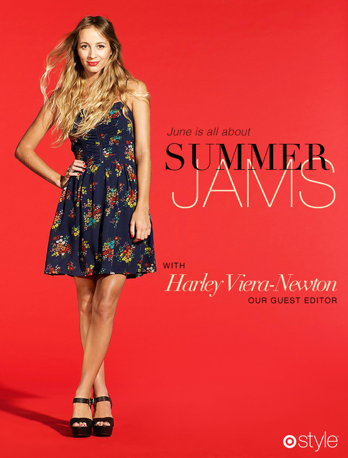 Flip the record. Now June is all about… Summer Jams with Harley Viera-Newton own it now: blue floral printed dress