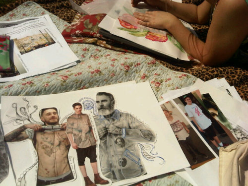 A day at Hyde Park creating research sheets of the tattoo photographs I have taken.