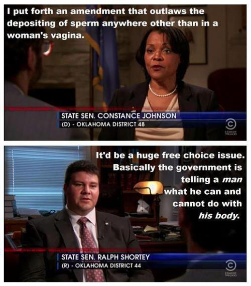 rabbleprochoice:   This should be an snl skit, not real politics.  And as we all know, we can't tell cis MEN what to do with their bodies. That would be restricting their freedom of choice. Only women (and other people who get abortions) can be told what to do with their bodies. On a less sarcastic note, it really IS astounding that this guy said this WHILE HE WA BEING INTERVIEWED ABOUT HIS ANTI-CHOICE LEGISLATION. The lack of awareness is simply mind-boggling. Love, Rabble