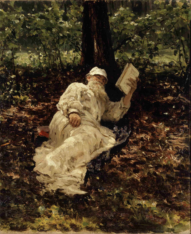 bookporn:  Ilya Yefimovich Repin, Tolstoy Reading in the Forest (1891)