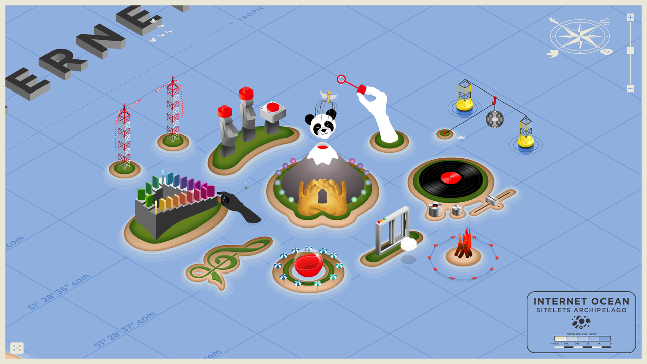 Meet Coca Cola's 'Happiness Islands'- an archipelago of 11 interactive sitelets. A smile maker but also a time waster.  Beware of hours lost to the sticky hand, underwater dance party, and falling dominoes. http://bit.ly/NsRI01