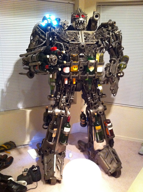 laughingsquid:  Half Ton Transformer-esque Wine Rack  Optimus Wine?