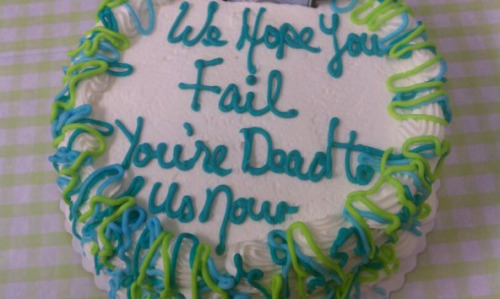 Cake Wishes Only the Worst to Departing Coworker We also got cupcakes with individual swear words on them.