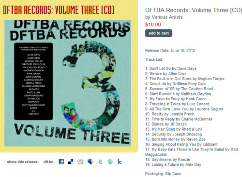 DFTBA just released (literally, a few minutes ago)…VOLUME THREE, featuring some of your favorite YouTube musicians: dftba.com/three
