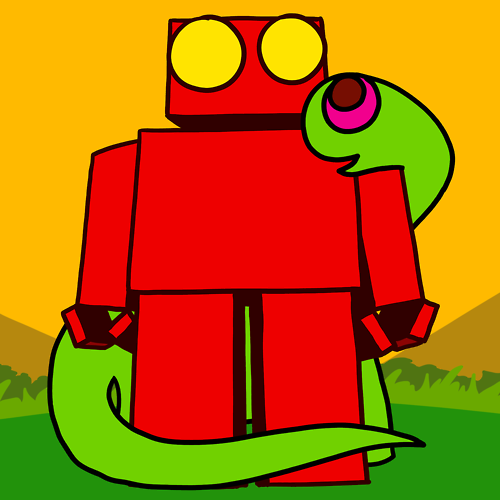 Red Robot and a Dinosaur