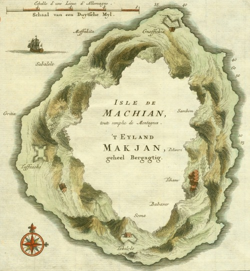 This detail from an unusual map of Makian Island was engraved by the Dutch cartographer Jacob Van der Schley in 1750.  The Möbius-like arrangement of mountains may have been intended to indicate a large crater in the center of the island.  mythologyofblue; *