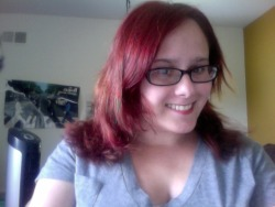 sheissugarysweet:  I'm a redhead again :D I love wearing the red lipstick to match.  you look beautiful. Red looks good on you.