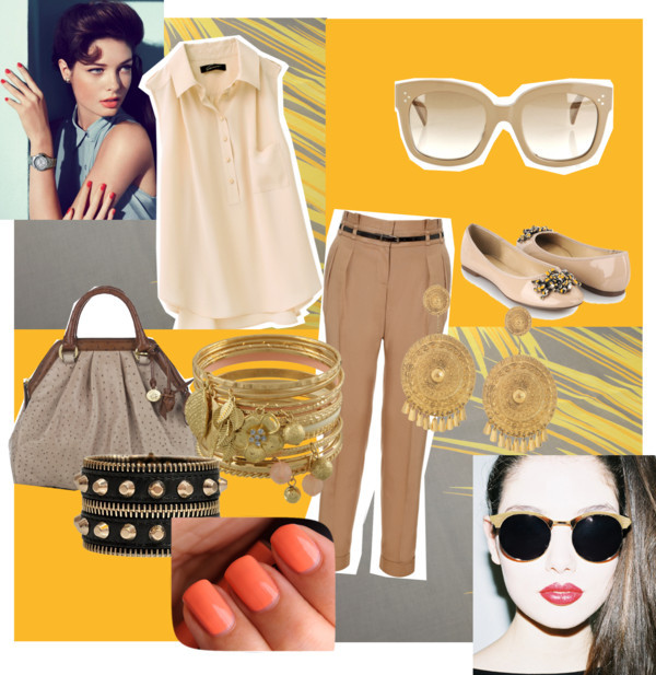 A touch of gold by mzlolzsmiilez featuring studded jewelryShirts blouse, ¥12,600Monsoon tapered pants, $105Forever 21 ballet shoes, $23Brahmin handbag, $365Aurélie Bidermann clip on earrings, $865Versace studded jewelry, €314Miso set of bangle, £10CÉLINE square sunglasses, $259Spitfire gold shades, £21HOUSE OF WARIS Scarf, €295
