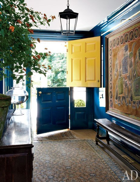 The vibrant front door of a home in Connecticut decorated by Miles Redd. Click to see more of the story.