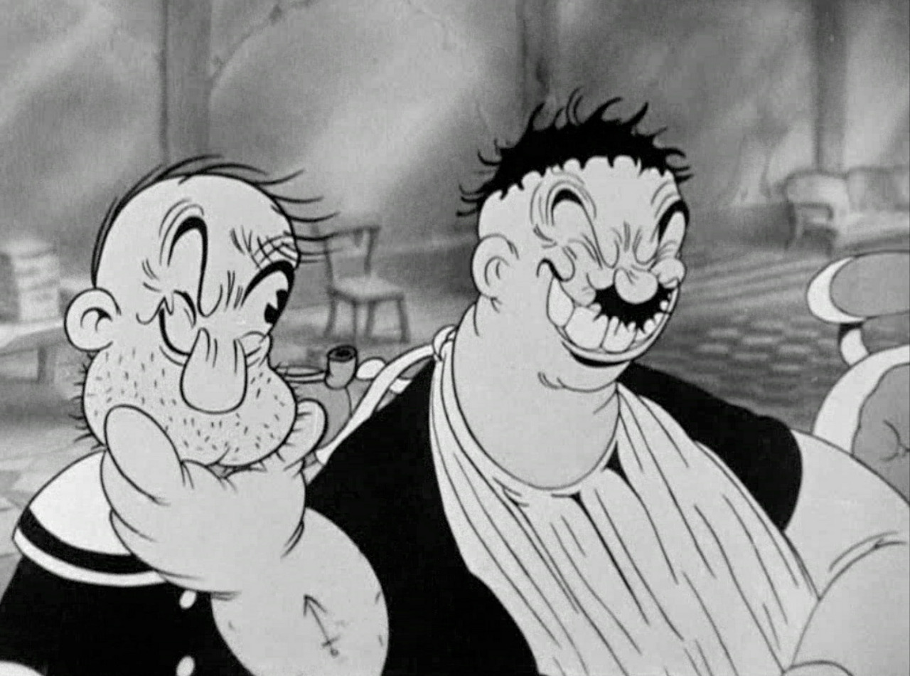 Popeye and Bluto shaving scene from 1936