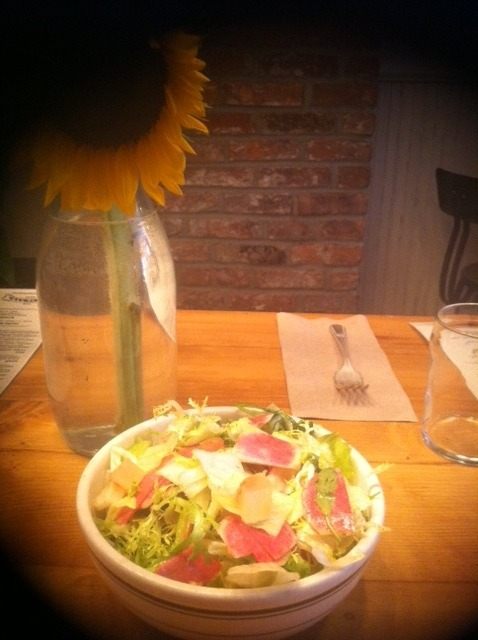 Watermelon Radish Market Salad at 64 Greenwich Ave Also includes frisée, iceberg, celery, pickled watermelon rind, and a coriander vinaigrette. Get. In. My. Mouth. NOW!
