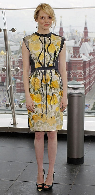 hollywood-fashion:  Emma Stone in Lanvin at the Moscow press conference for The Amazing Spider-Man on June 15, 2012.