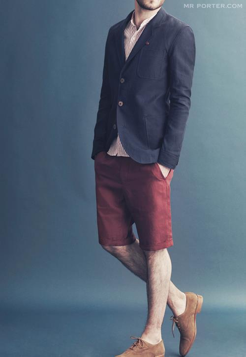 i love mr porter but im not wild about this look. i wish the shorts were a LITTLE bit shorter, the shirt actually had a collar, and the blazer was only two buttons.