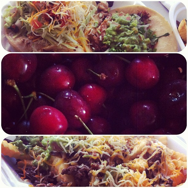 The Central Valley in foods: carnitas tacos, fresh cherries, and carne asada fries ☺🌴🐳 #home #summer #foodcoma (Taken with Instagram)