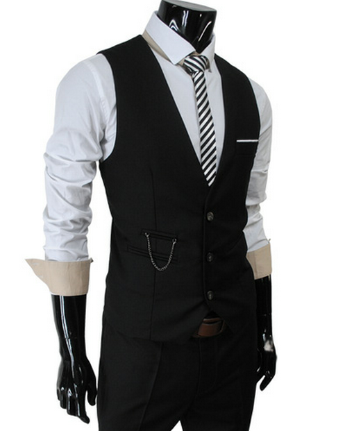 bluedogeyes:  Mens slim sit chain point 3 button vest  (via Theleesshop)  I need this…