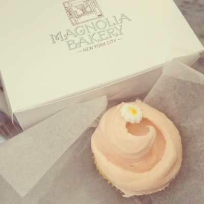 netaporter:  Sweet temptation. Had to stop for a cupcake while shooting at @magnoliabakery (Taken with Instagram)