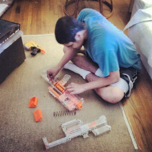 My brother the genius…. modifying a Nerf gun, sometimes he can be dangerous. (Taken with Instagram)