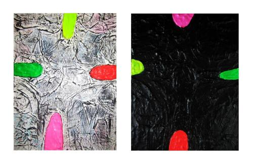 "Two paintings by Ted Willis: CAPS-LIGHT and CAPS-DARK….acrylic on M.D.F. panel, 15x12"", 2012 each."