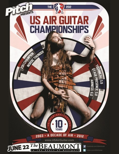 The 2012 US Air Guitar Championships - Kansas City Regional sponsored by The PitchFriday June 22, 2012Beaumont Club It's my fourth year in a row. SO excited for this to be in KC again!