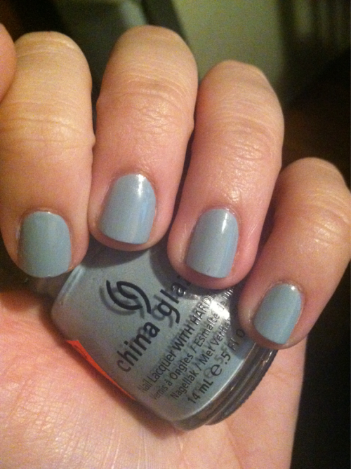 China Glaze Sea Spray. I fucking love dusty greys, man. And it applied like a dream.