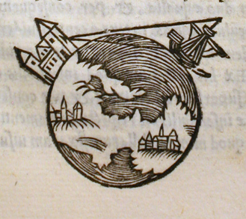 1550 Edition, De sphaera mundi (On the Sphere of the World -or- The Sphere of the Cosmos), the most influential astronomy textbook of the 13th Century (c. 1230), by Johannes de Sacrobosco.