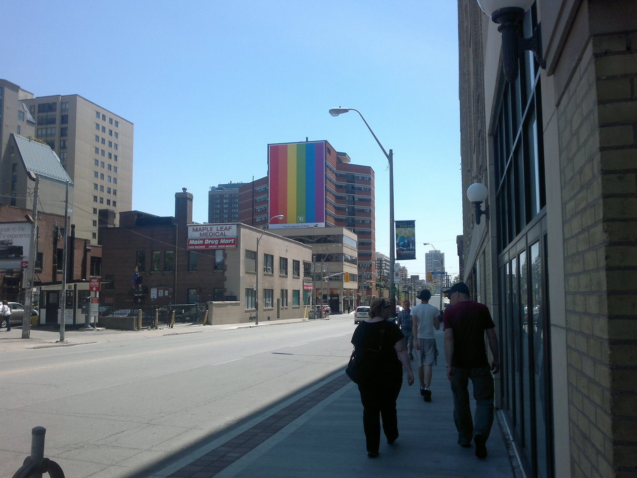 Big ass gay flag at Church St. & Carlton St. TD Bank, you're officially the gay bank.