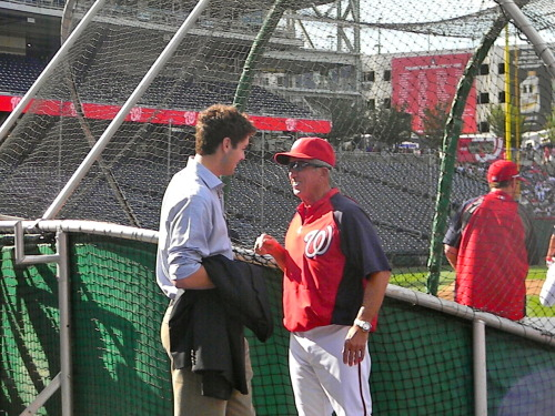washingtonnationals:  Manager Davey Johnson with Nats first rounder Lucas Giolito.