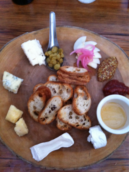 Thumbs up for the earthy cheese plate at Styler's Garden Cafe in Chadds Ford, Pennsylvania featuring Nancy's Camembert, Clothbound Cheddar, Shellbark Sharp Chèvre, Rogue River Smokey Blue, & Woolwich Goat Brie. I probably would have substituted the Smokey Blue for a more traditional blue.