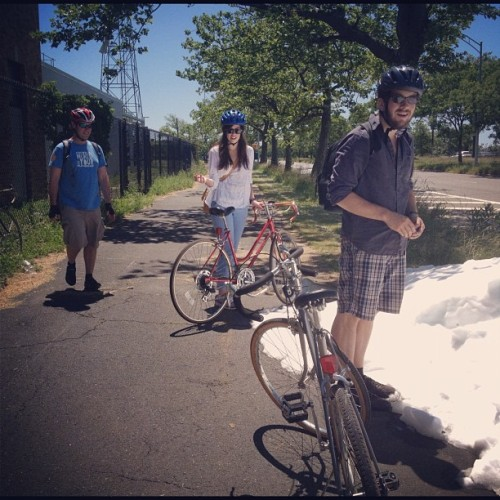 blindhorse:  Pile of snow along the way #random #myfriendsarethebest #bikes (Taken with Instagram)